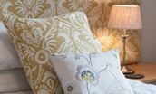 Harebell Cottage - gold double bedroom cushions