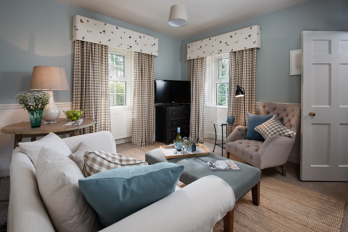 West Lodge - living room in restful Farrow & Ball
