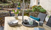 Shiloh Cottage  -  patio with garden furniture