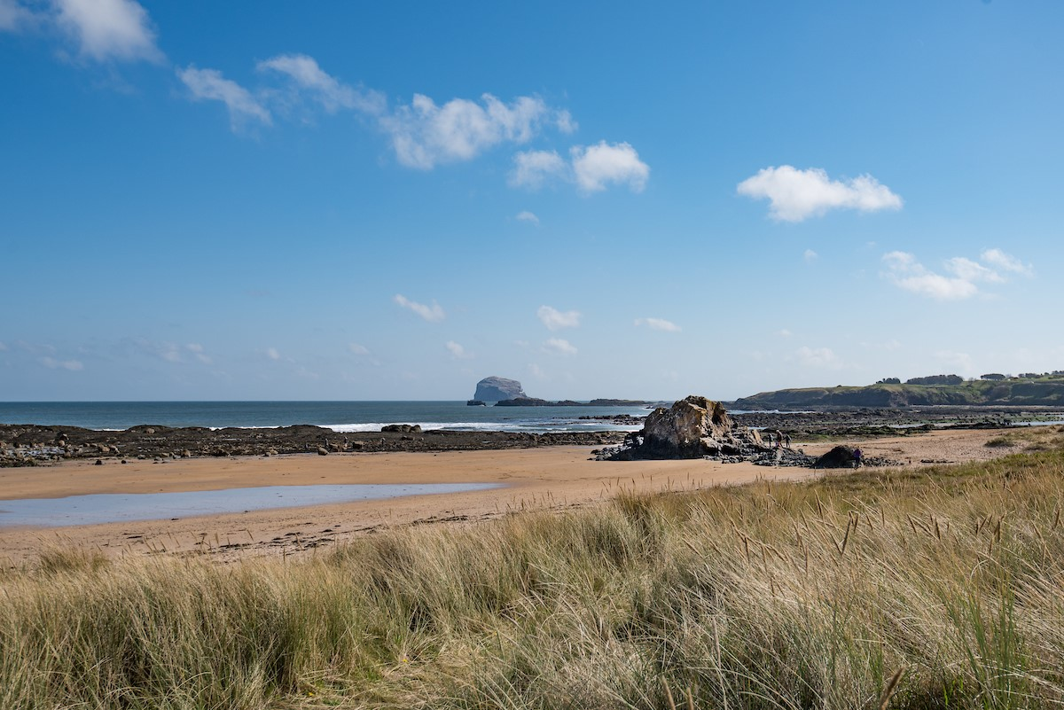 East Bay Beach House - beach view with Bass Rock