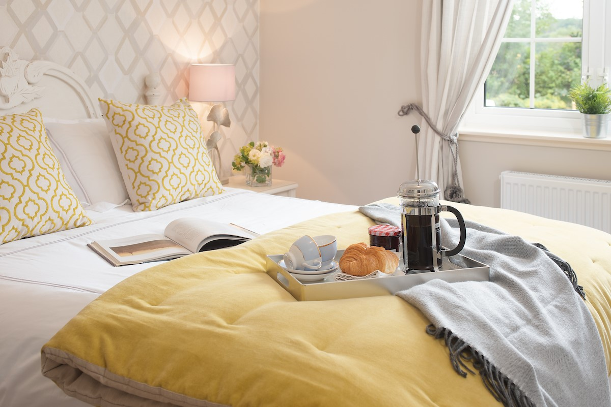 The Laurels - bedroom one with breakfast tray