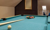 Cloister House - games room with pool table