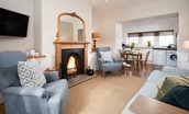 Tweedside - open plan living area with open fire