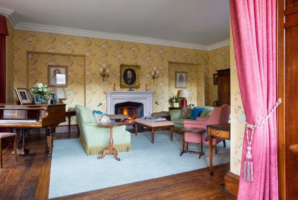 Abbotsford Hope Scott Wing - drawing room with open fire