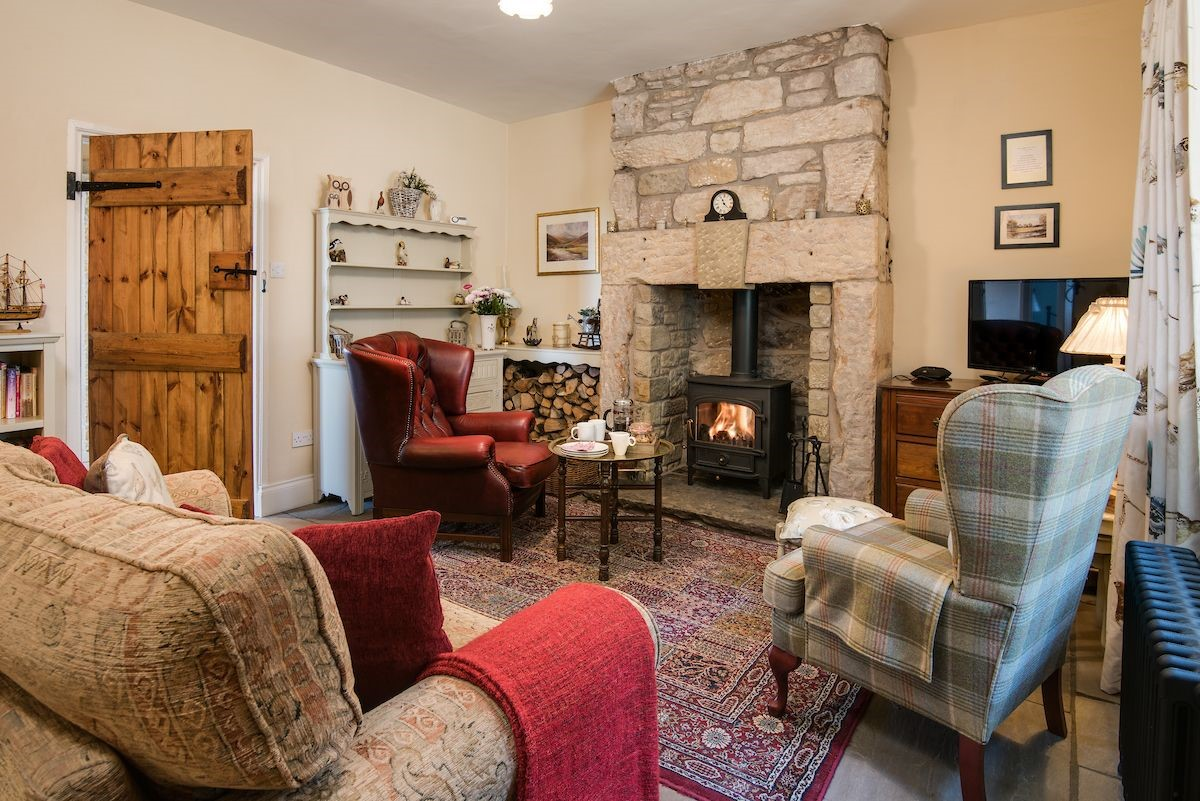 April Cottage - sitting room with fire