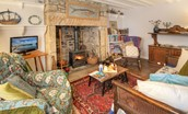 Artist's Cottage - sitting room with fire