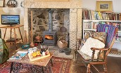 Artist's Cottage - sitting room with wood burning stove