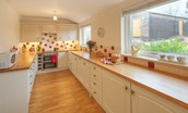 Balmoral Cottage - kitchen with garden view