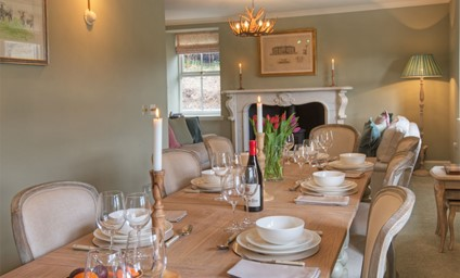 The dining room is a wonderful space for get-togethers or more formal entertaining.