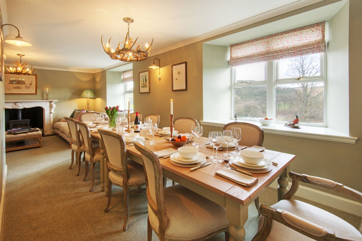 Bramley Cottage - dining room with wood burning stove