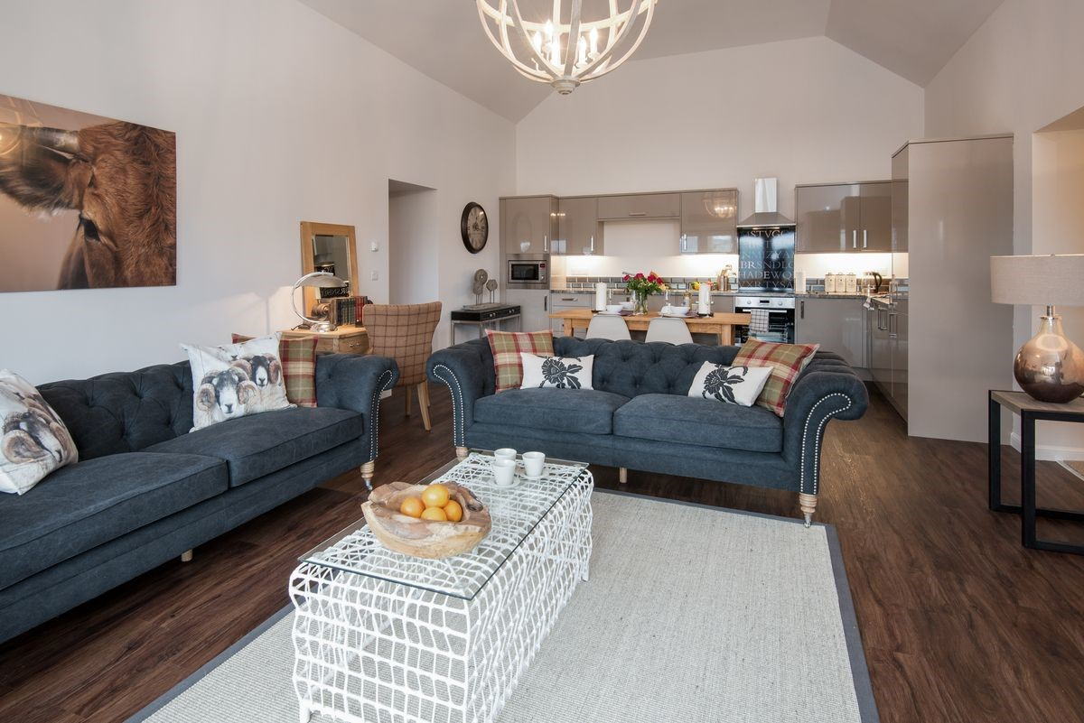 Byre - sitting room with kitchen area