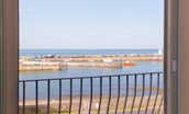 Farne View - Juliet balcony overlooking Seahouses harbour