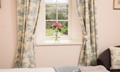 Gamekeeper's Cottage - bedroom one with garden views