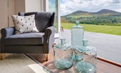 Granary - sitting room close up with view of the Eildons