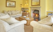 Grey Barns - sitting room with open fire