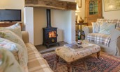 Middle Cottage - sitting room with wood burning stove