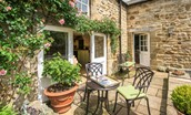 Middle Cottage - outside seating area & entrance door