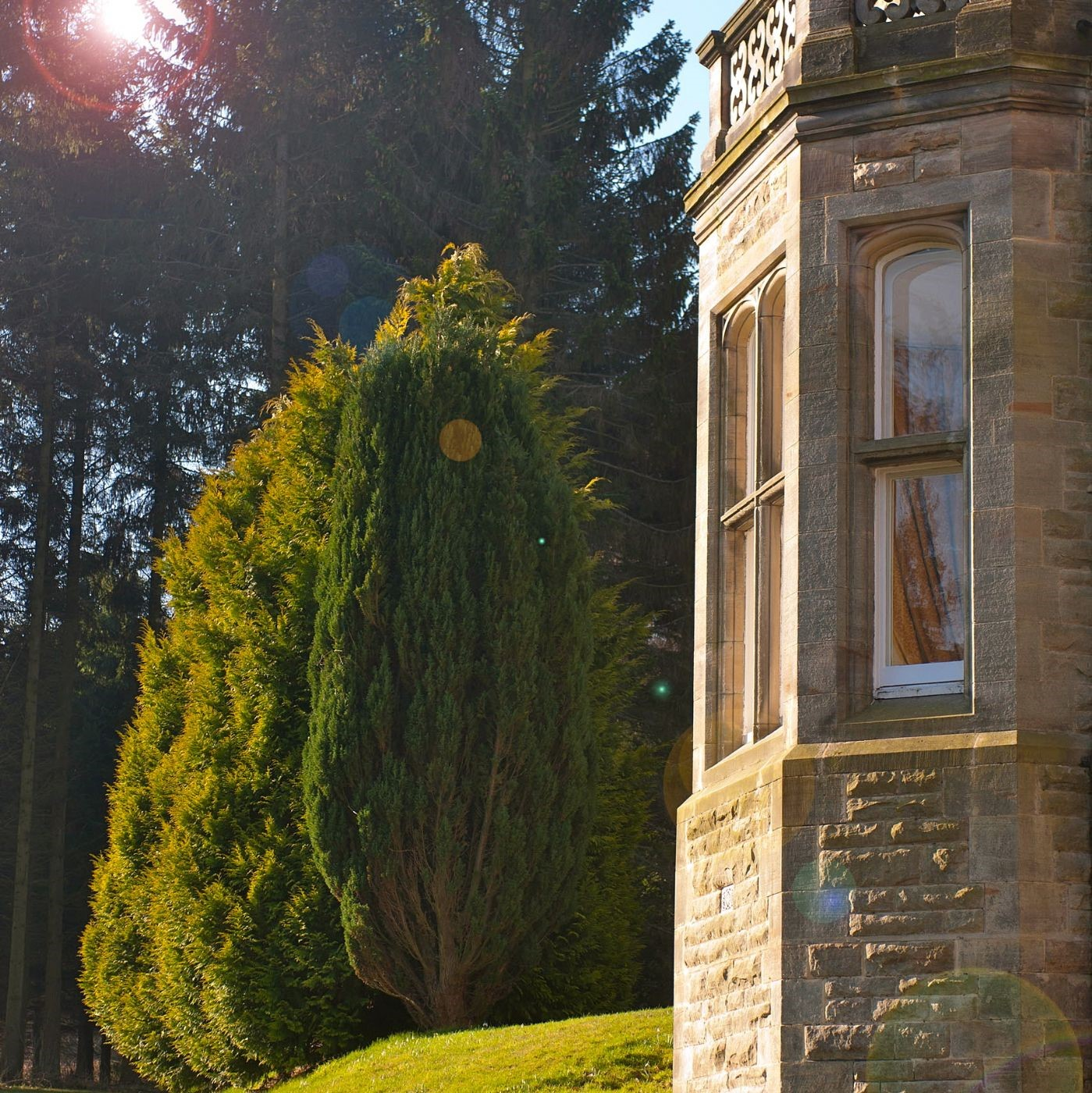 The Hall sits in a peaceful situation amidst 30 acres of secluded, wooded grounds which include a large lawn, a terrace, woodland walks and two lakes with private fishing.