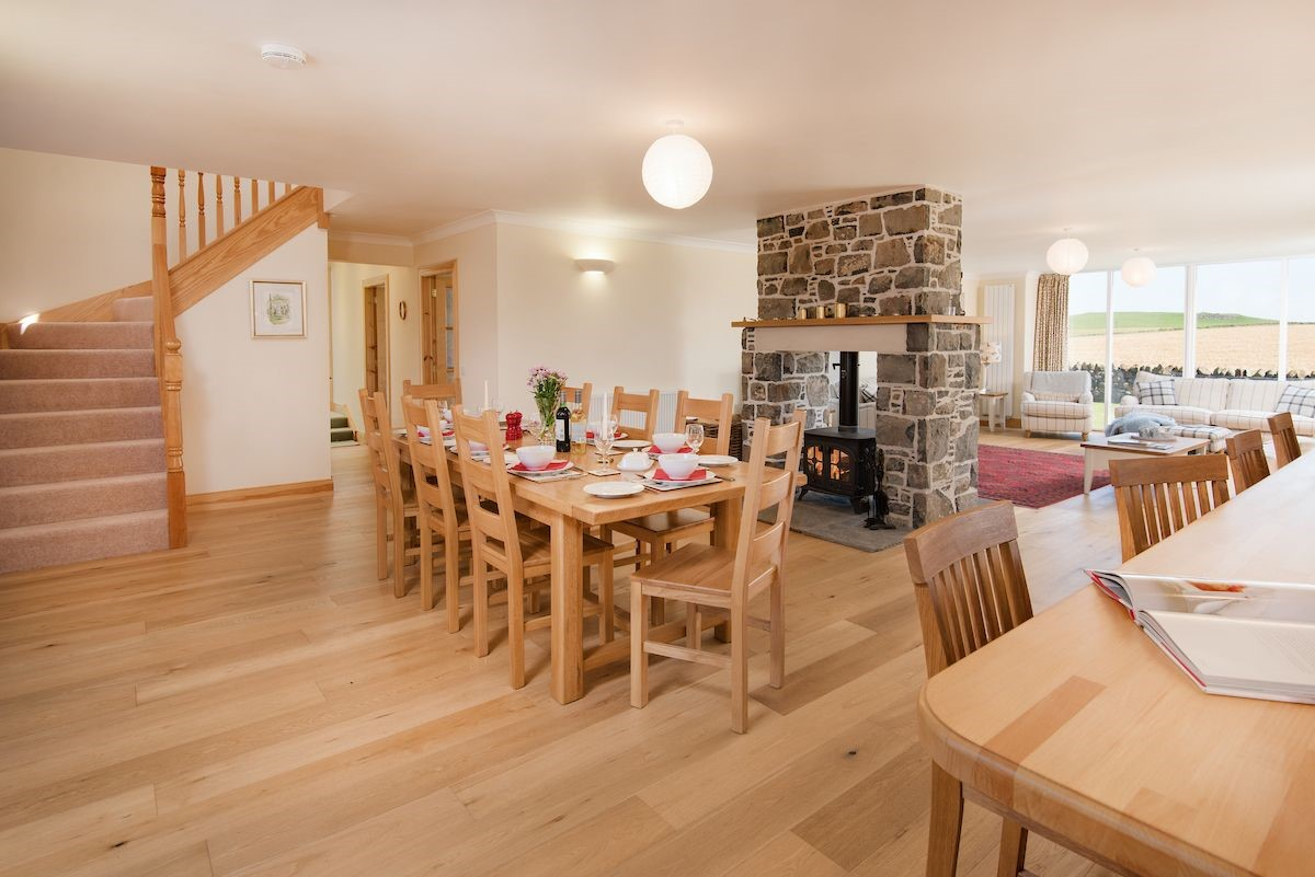 Mill Dowrie - open plan living area with wood burning stove