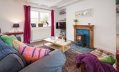 Newton Cottage - sitting room with wood burning stove