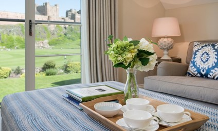 Take time out and watch the world go by from the Juliet balcony with dream views of the iconic Bamburgh Castle.