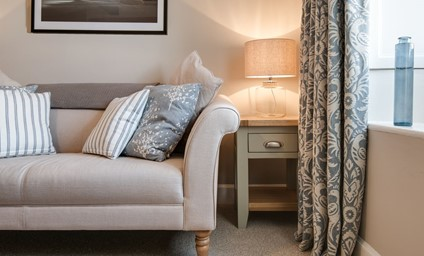 The tasteful Scandi style embraces the soft colours of the sea which fits perfectly with the cottage's relaxed beach location.