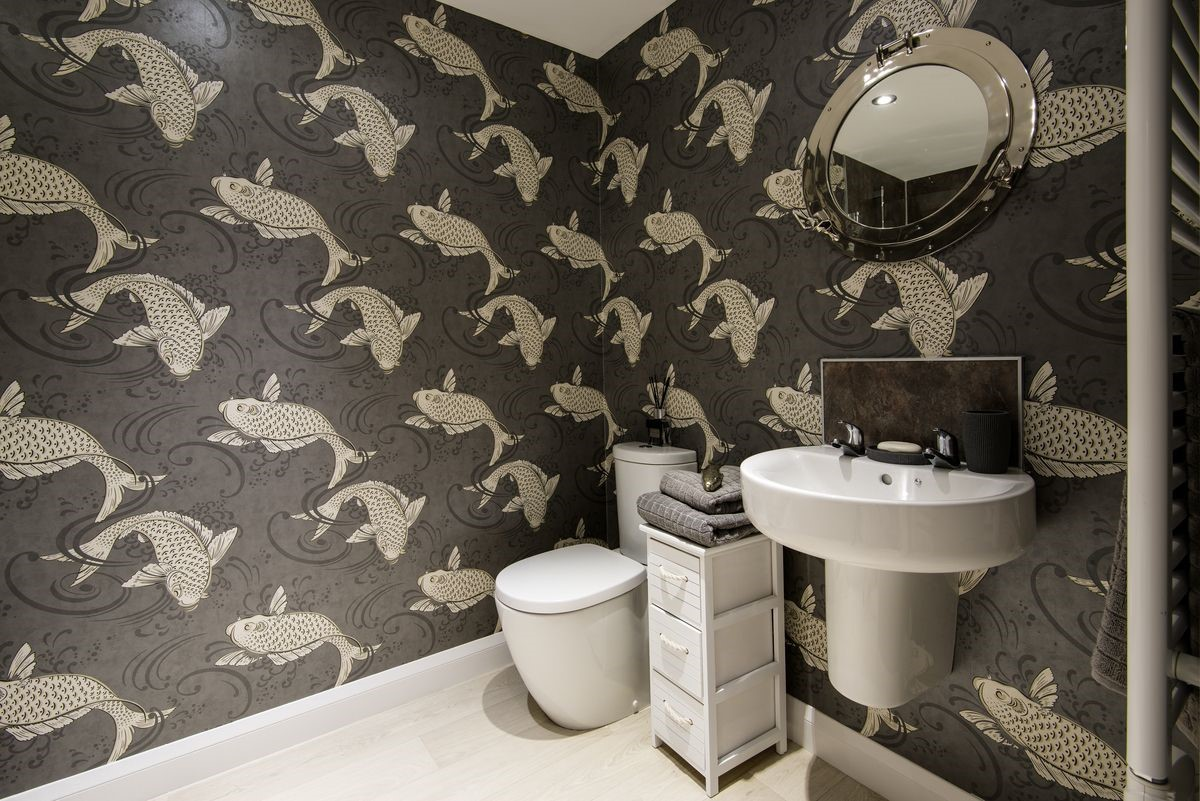 The Apartment - bathroom with statement wallpaper