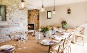 The Barn & The Cowshed - dining table