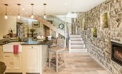 The Barn & The Cowshed - The Barn kitchen area & staircase