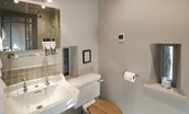 The Barn & The Cowshed - bedroom six en suite bathroom WC & basin