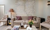 The Cowshed - sitting room with feature wall