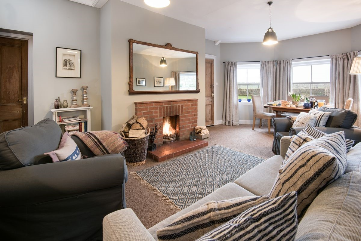 The Gate House - sitting room & open fire