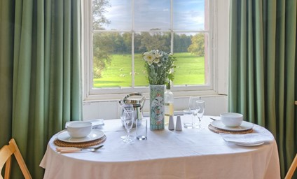 The breakfast table is the perfect place to start your morning with gorgeous views over the castle parkland.