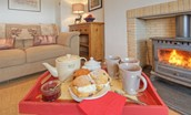 Three Acre Cottage - tea tray by fire