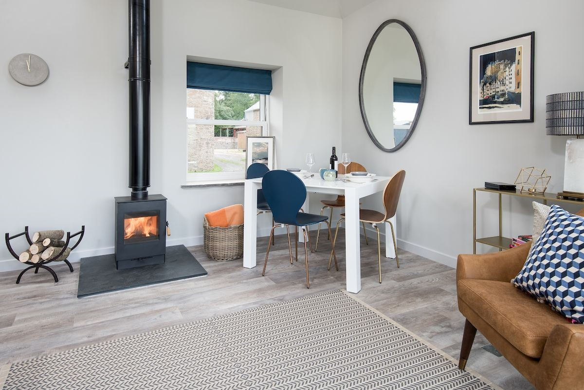 The Studio - dining area & wood burning stove