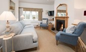 Tweedside - sitting room with open fire