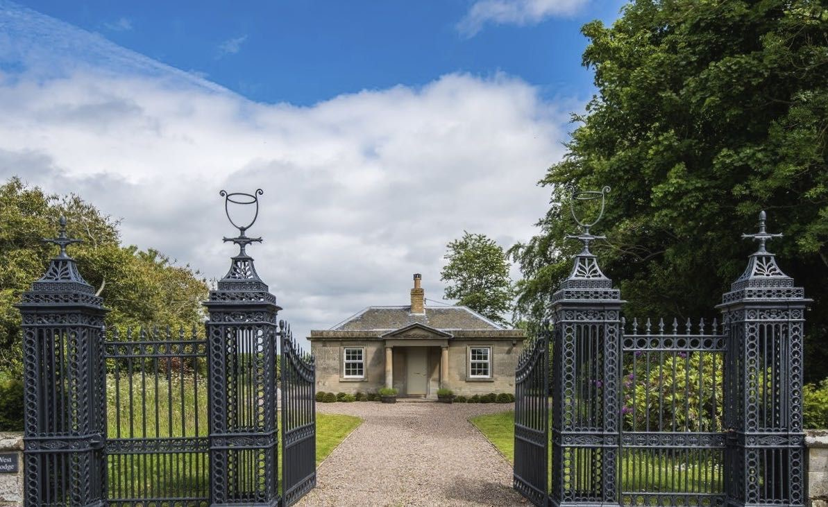 West Lodge - front aspect with gates