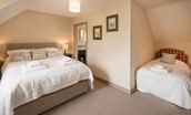 Bowmont Cottage - bedroom two with king size bed and single bed