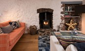 Apple Cottage - sitting room with wood burning stove