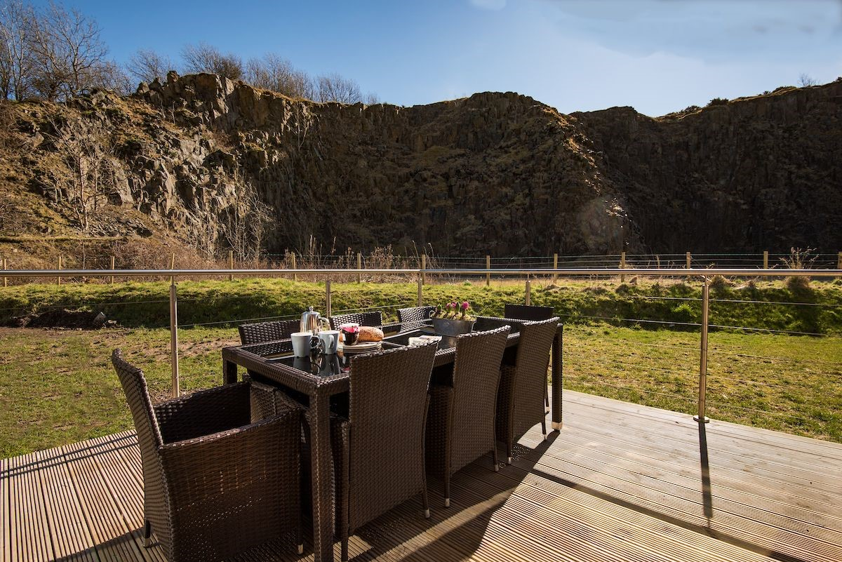 Mallow Lodge - outside seating area & quarry