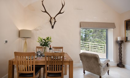 The open plan living space is designed to take advantage of the views across the hills of the Upper Coquet valley.