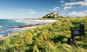 Bamburgh Castle, beach, dunes and bench