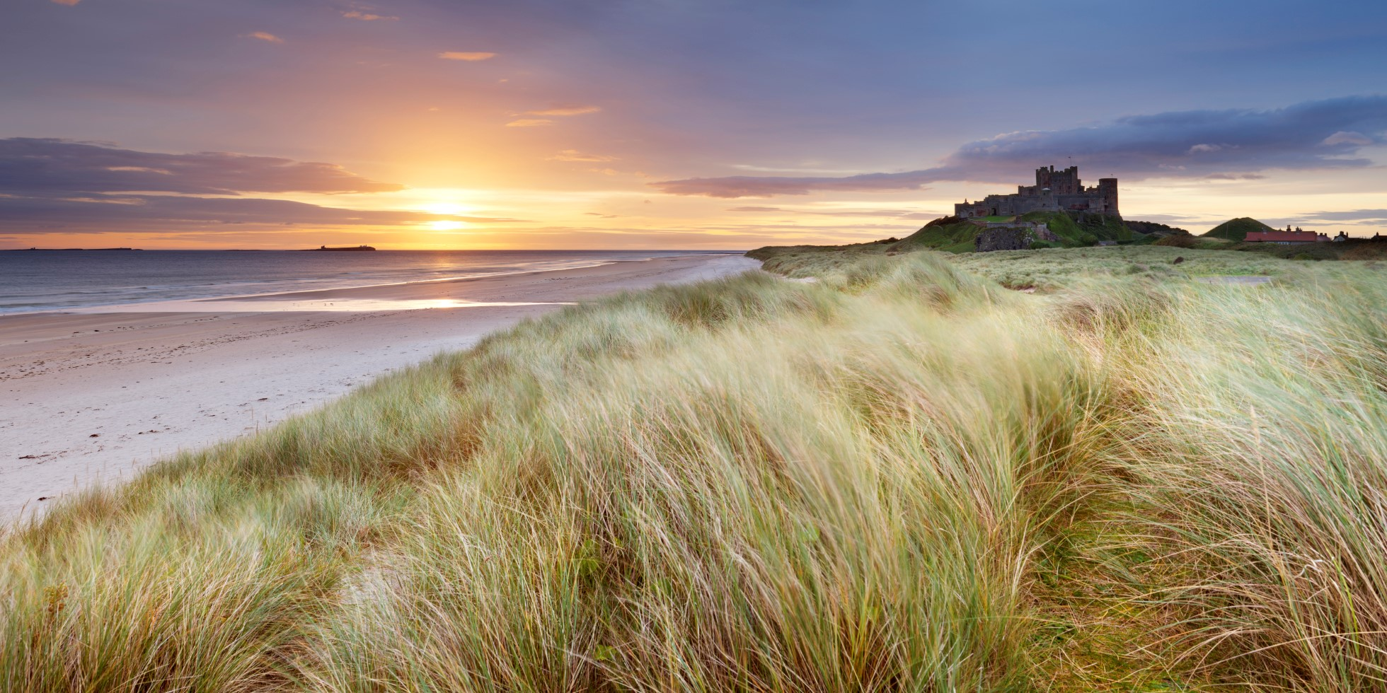 Bamburgh Castle and Beach - sunrise