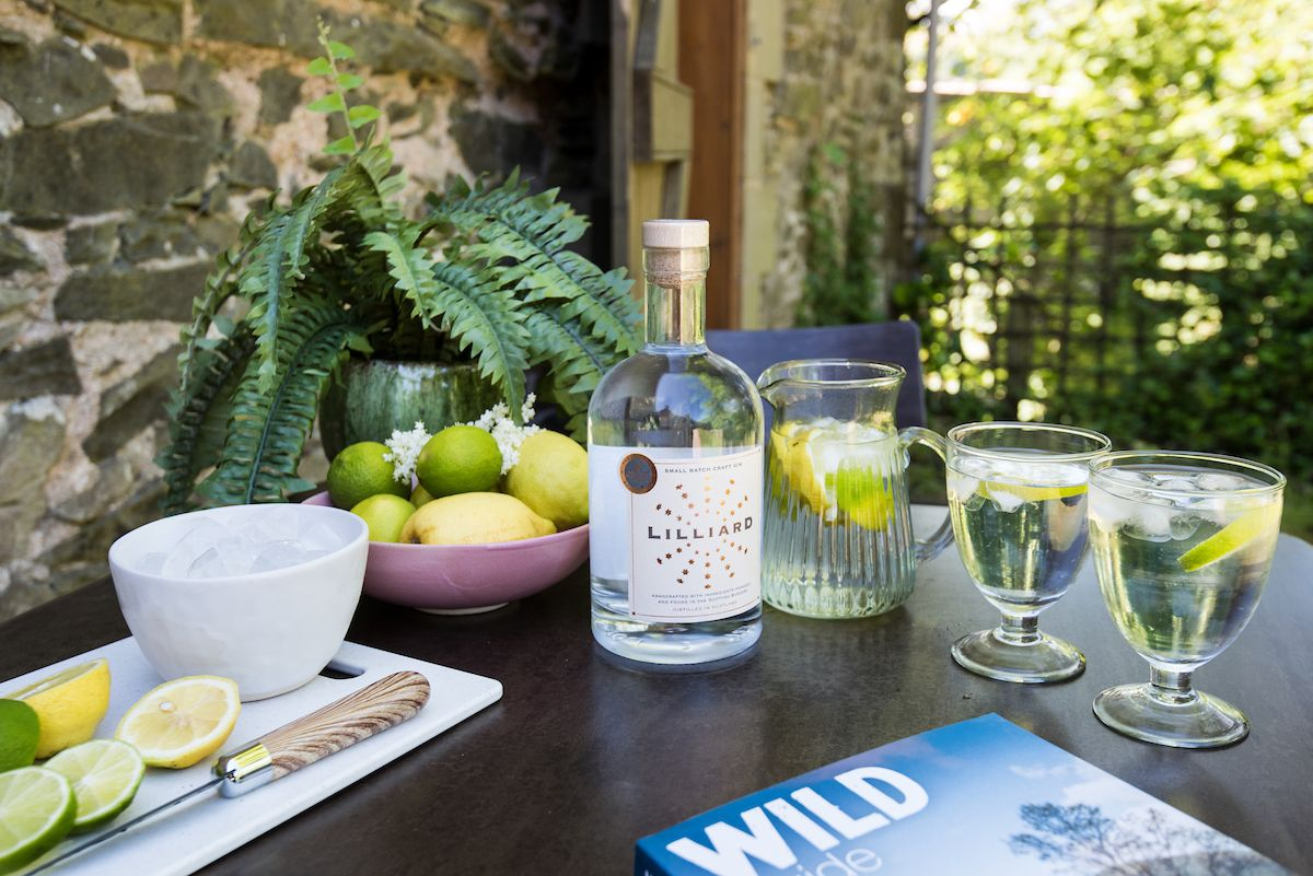 Lilliard gin at a Crabtree & Crabtree holiday cottage in the Scottish Borders