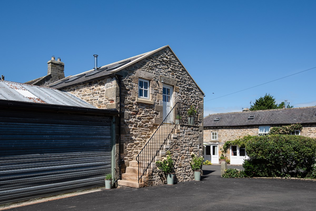 The Hay Loft - external with stone staircase access