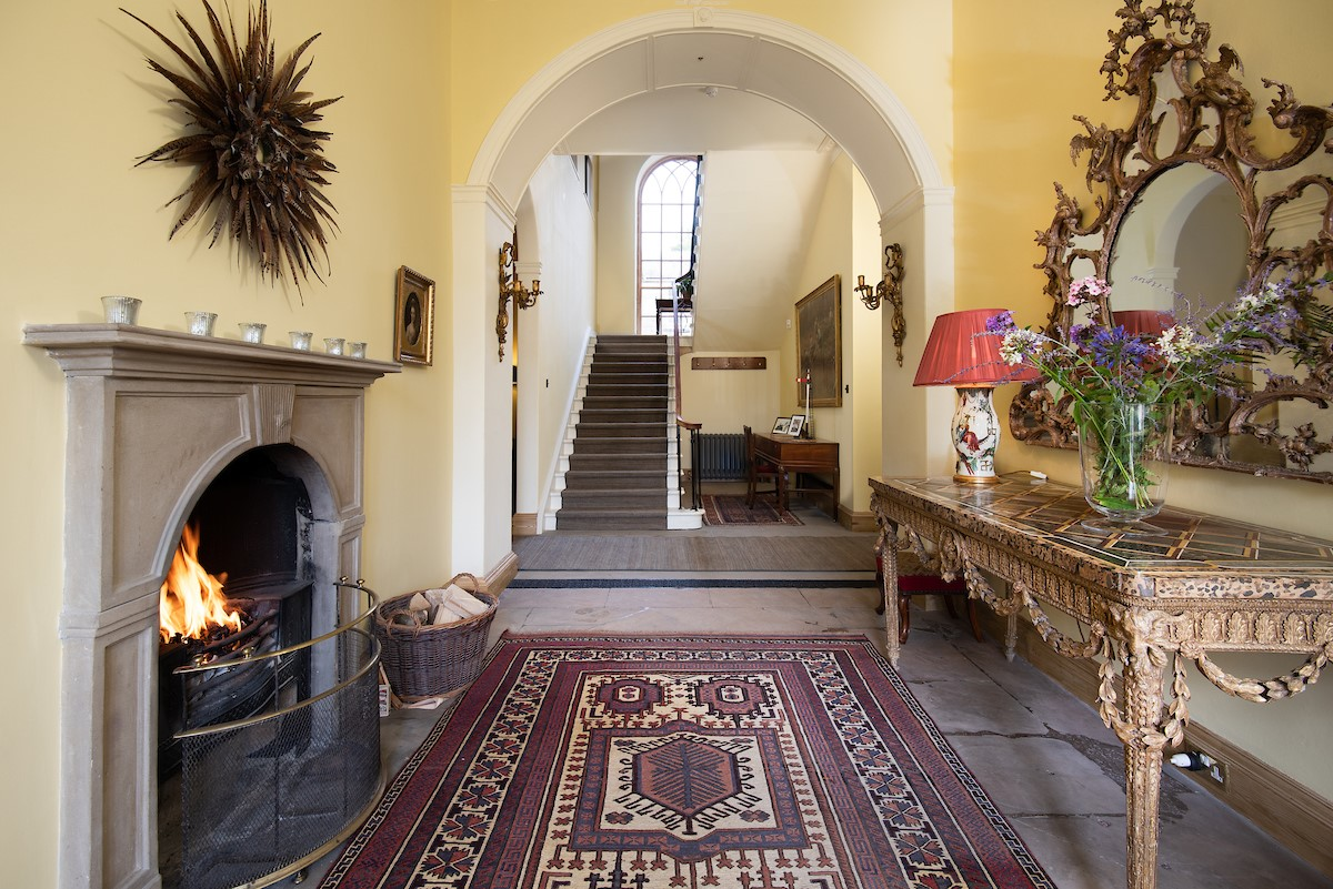 Lorbottle Hall - hallway with open fire