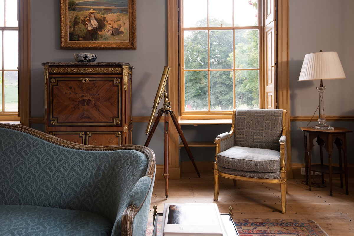 Lorbottle Hall - drawing room with antique detailing