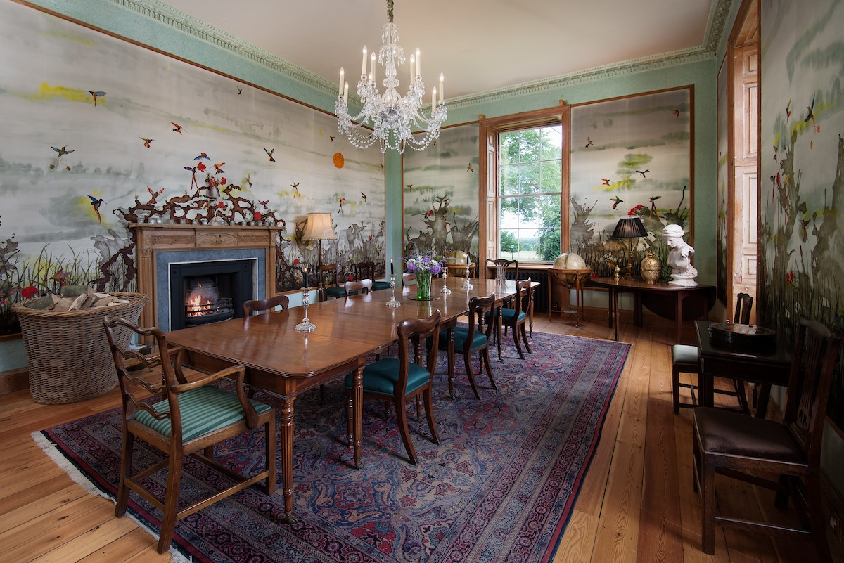 Lorbottle Hall - dining room with fine silk wallpaper