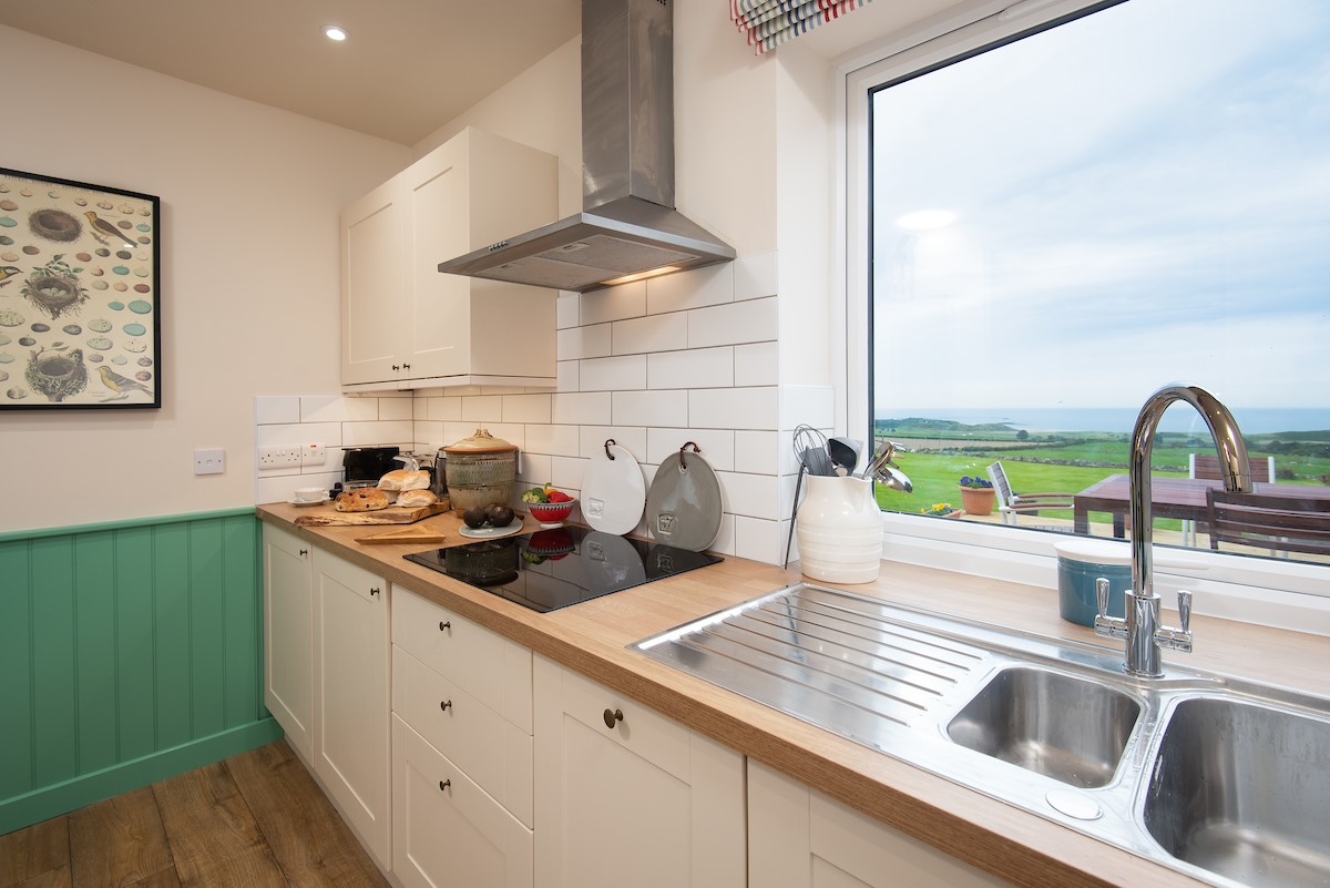 Calder Cottage - kitchen with sea views