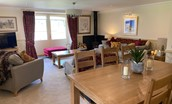 Dryburgh Steading Three - sitting room with dining space